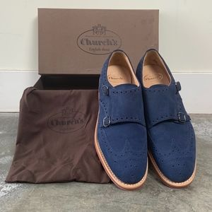 CHURCH's  Kelby blue suede double monk shoes